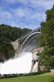 Croton Dam. Dam on mountain river. Expanded water from the waterfall Stock Photos