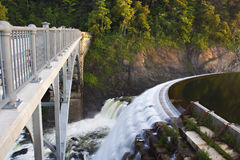 Croton Dam in USA. Dam on mountain river. Expanded water from the waterfall Royalty Free Stock Images
