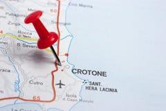 Crotone Italia en un mapa Foto de archivo