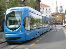 Crotram. Electric trains in Zagreb stock image