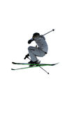 The Crouch. Airoski: a skier crouching during a high jump.  on white background Stock Photos