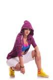 Crouched hip hop woman dancer stock photos