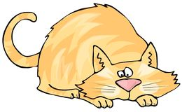 Crouching Cat. This illustration depicts a cat in a crouching or pouncing position Stock Photo