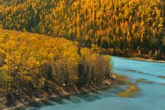 Crouching Dragon Bay in Kanas Xinjiang China Stock Photo