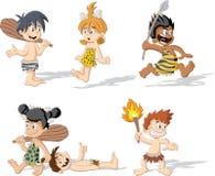 Croup of cartoon cavemen. Stock Image