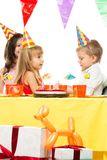 Croup of children celebrating birthday Royalty Free Stock Photography