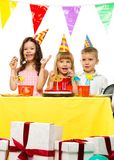 Croup of children celebrating birthday Stock Photography