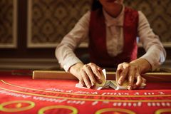 The croupier in the casino does a shuffle of cards stock photography