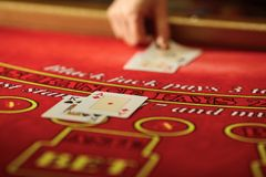The croupier in the casino does a shuffle of cards stock photo