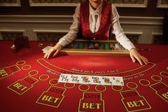 Croupier i kasinot gör en röra av kort royaltyfri bild