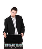 Croupier with poker chips Stock Image