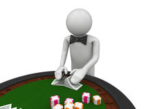 Croupier shuffles the cards Stock Photography