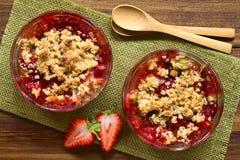 Croustillant cuit au four de fraise et de rhubarbe Photo stock