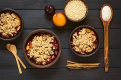 Croustillant cuit au four de prune et de nectarine photographie stock