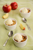 Croustillant d'Apple et de cassis avec la crème glacée  Images stock