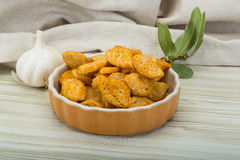 Crouton. In the bowl on wooden background Royalty Free Stock Images