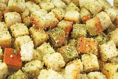 Crouton croutons as background texture. Closeup background. Food photo. Bread croutons Stock Photos