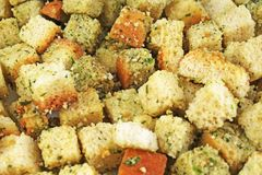 Crouton dried bread food pattern as background. Croutons. Food photo Stock Image