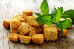 Crouton with fine herb parsley and garlic Stock Photography