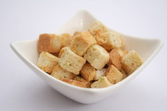 Croutons. Some croutons of bread for salad or soup royalty free stock photography