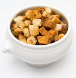 Croutons. In a white dish stock photography