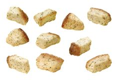 Croutons. On a white background. Isolation is on a transparent layer in the PNG format stock photography