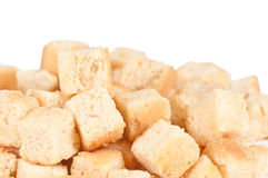 Croutons. Macro shot of crouton on a white background Royalty Free Stock Photos