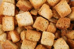 Croutons. Close up shot for background stock photo