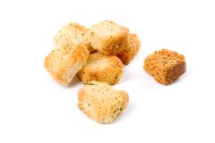 Croutons. Close up shot for background royalty free stock photography