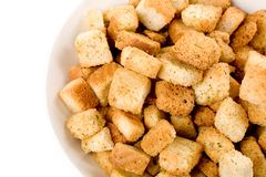 Croutons. Close up shot for background royalty free stock photo
