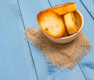 Croutons on a blue board Royalty Free Stock Photo