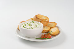 Croutons and chives spread Royalty Free Stock Image