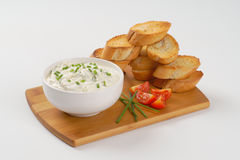 Croutons and chives spread Royalty Free Stock Photo