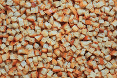 Croutons. Close up of rustic homemade baked croutons Royalty Free Stock Photography