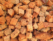 Croutons. Crackling tasty croutons from rye bread Royalty Free Stock Images