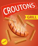 Croutons flavored with sausage grill. Design for packaging Royalty Free Stock Photo