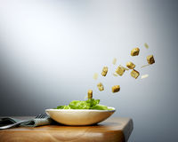 Croutons flying Stock Photo