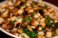 Croutons with fresh herbs. Croutons made from bread with fresh herbs Stock Image