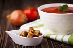 Croutons i czerwona pomidorowa polewka Zdjęcia Stock