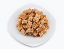 Croutons op een plaat Stock Fotografie
