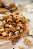 Croutons, pile of bread crumbs on a plate Stock Image