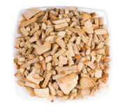 Croutons in a porcelain plate. Royalty Free Stock Photos