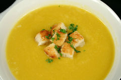 Croutons In Pumpkin Soup Stock Photos