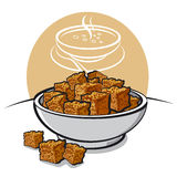 Croutons. Rye croutons at the dish Stock Images
