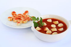 Croutons and sauce stock photo