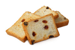 Croutons with sweet raisins Royalty Free Stock Photos