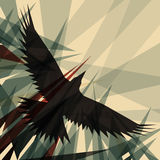 Crow. Editable vector design of a flying crow Stock Photo