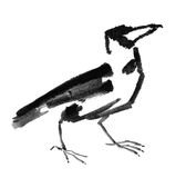 Crow. Handmade illustration of a gray crow at white background Stock Image