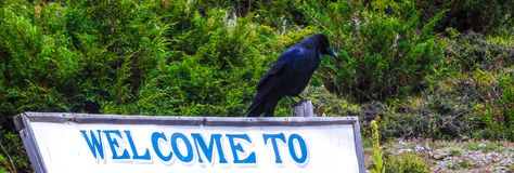Welcome to the crow sign royalty free stock images