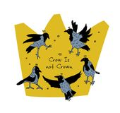 Crow birds in crown symbol isolated on white. Color vector illustration. EPS8 Royalty Free Stock Photos